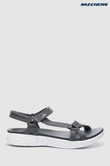 Skechers® Grey On The Go 600 Brilliancy Charcoal Strap Sandal