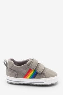 Grey Two Strap Rainbow Pram Shoes (0-24mths)