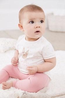 White/Pink Bunny T-Shirt And Spot Legging Set (0mths-2yrs)