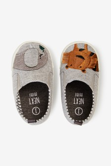 Grey Animal Pram Slip-Ons (0-24mths)