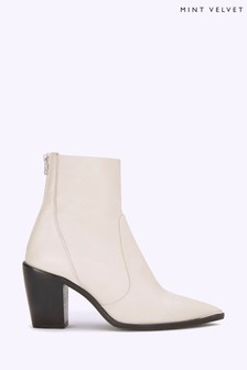 Mint Velvet Amy Off White Leather Boots