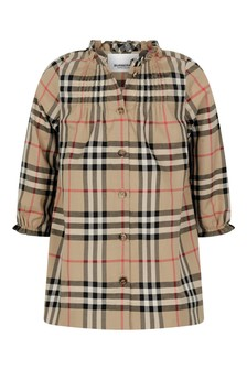 Baby Girls Beige Check Cotton Dress With Knickers