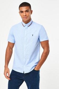 Light Blue Slim Fit Stretch Oxford Tipped Collar Short Sleeve Shirt