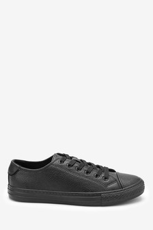 All Black  Baseball Lace-Up Trainers