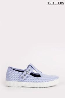 Trotters London Blue Check Nantucket Canvas Shoes