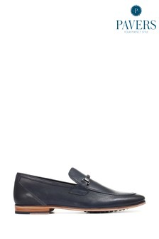 Pavers Navy Leather Men's Snaffle Loafers