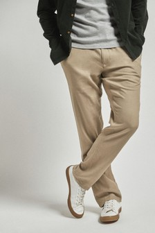 Stone Linen Blend Drawstring Trousers