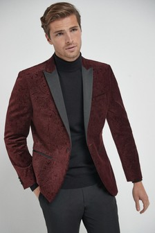 Burgundy Slim Fit Printed Velvet Jacket