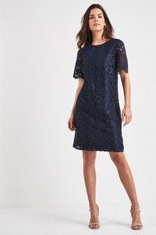 65587e62e2cc Navy Lace Tee Dress ...