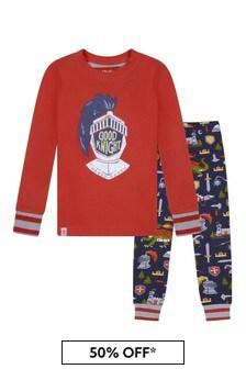 Boys Organic Cotton Red Pyjamas Set