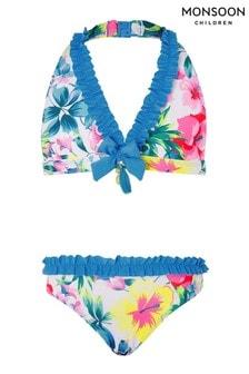 Monsoon Blue Tropical Floral Ruffle Bikini Set