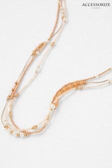 Accessorize Orange Jennie Beaded Rope Necklace