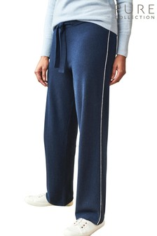 Pure Collection Blue Organic Cashmere Joggers