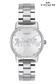 Coach Silver Tone Stainless Steel Grand Watch