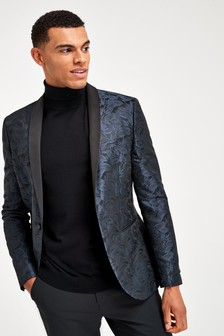 Navy Super Skinny Fit Tuxedo Jacket