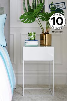 White Sloane 1 Drawer Bedside Table