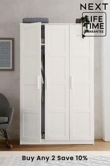 White Panel Flynn Panelled Triple Wardrobe