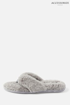 Accessorize Grey Laura Fluffy Thong Slippers