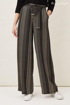 Phase Eight Black Arizona Striped Wide Leg Trousers
