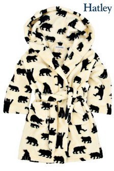 Hatley Black Bears On Natural Kids Fleece Robe