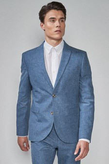 Navy Skinny Fit Linen Blend Suit: Jacket