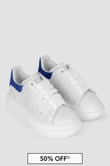 Kids White & Navy Leather Trainers