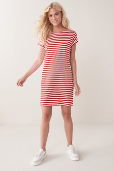Red Stripe Relaxed Capped Sleeve Tunic Dress