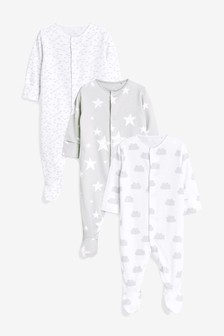 Grey/White 3 Pack GOTS Organic Cotton Sleepsuits (0-12mths)