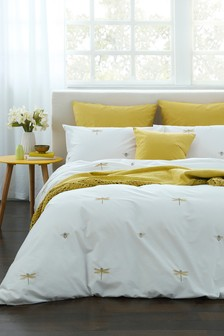 Embroidered Bugs Duvet Cover and Pillowcase Set