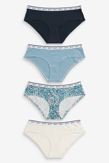 Blue/Animal Print Short Cotton Rich Logo Knickers Four Pack