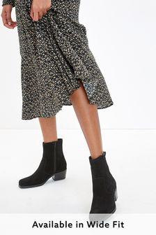 Black Extra Wide Fit Suede Western Ankle Boots