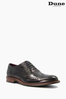 Dune London Pollodium Black Leather Heavy Brogue Shoes