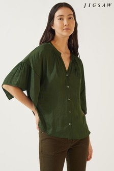 Jigsaw Eggshell Crocus Drape Button Top