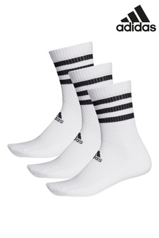 adidas Adult White 3 Stripe Crew Socks Three Pack