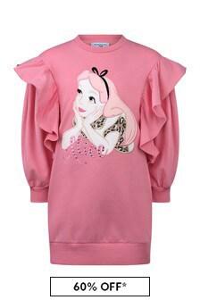 Monnalisa Girls Pink Cotton Alice Sweater Dress