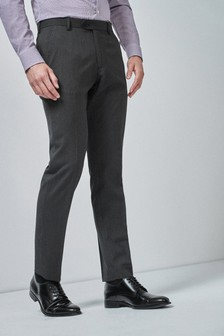 Charcoal Tailored Fit Stretch Formal Trousers
