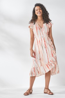 Ecru Tie Dye Wrap Midi Dress