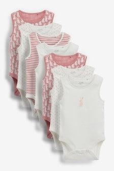 Pink Bunny 7 Pack Vest Bodysuits (0mths-3yrs)