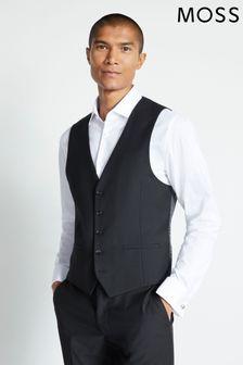 Moss London Skinny Fit Black Stretch Waistcoat