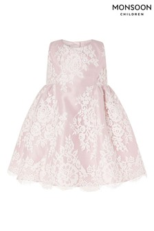 Monsoon Pink Baby Lace Dress