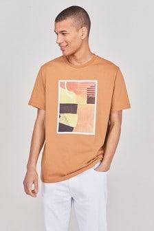 Tan Abstract Print Graphic T-Shirt