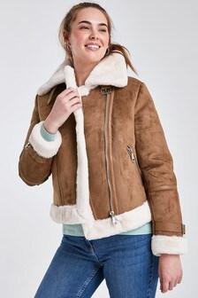 Tan Faux Fur Lined Aviator Style Jacket