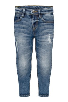 Boys Blue Distressed Denim Loose Fit Jeans