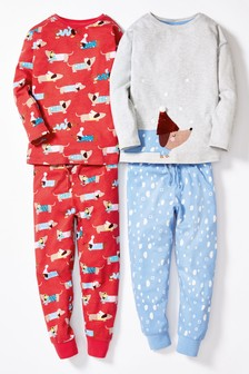 Grey/Red 2 Pack Sausage Dog Snuggle Pyjamas (3-16yrs)