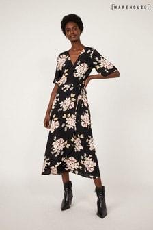Warehouse Black Sia Floral Printed Midi Dress