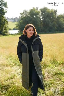 Khaki Green Colourblock Emma Willis Long Padded Duvet Coat