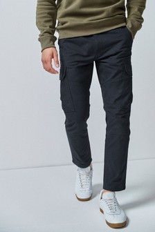 Black Slim Fit Cotton Cargo Trousers