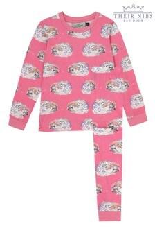 Their Nibs Girls Slim Fit Pyjama Set In Glitter Hedgehog Print