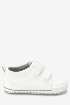 White Two Strap Pram Shoes (0-24mths)