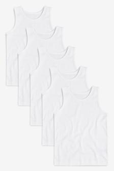 White 5 Pack Vests (1.5-16yrs)